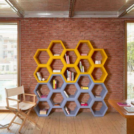 Slide Hexa farvet væg bogreol i Italien