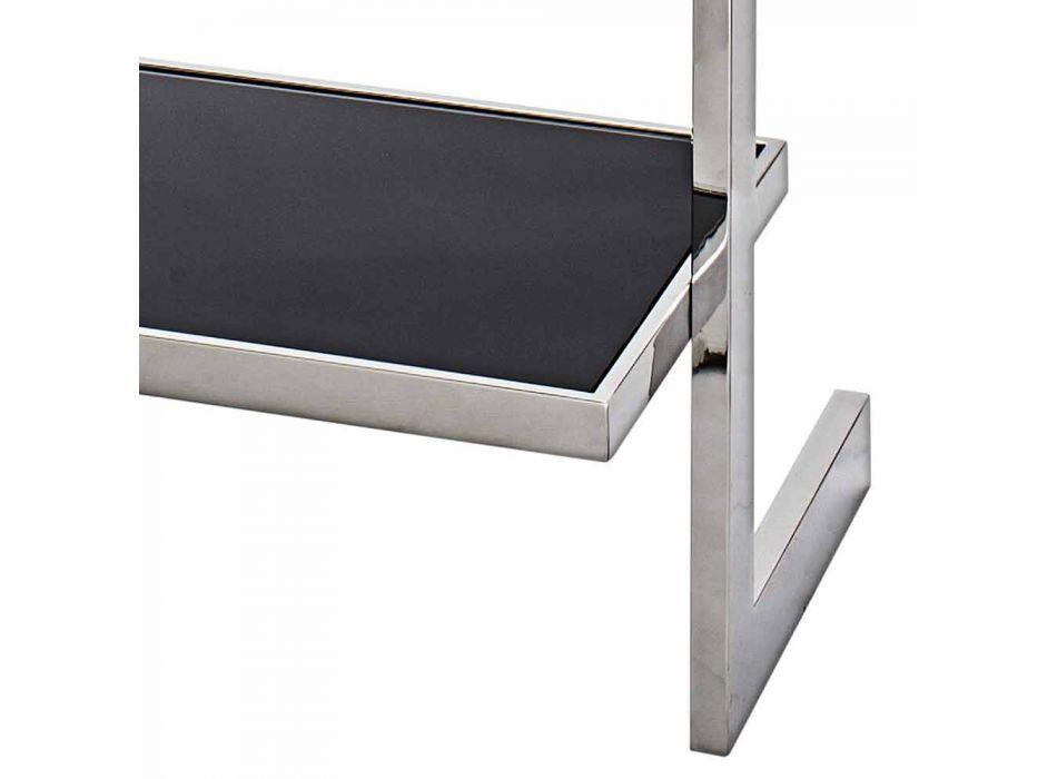 Bogreol væg stål og glas design 60x180x44cm Tafre