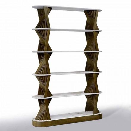 Luksus gulv bogreol i træ med stentøj toppe fremstillet i Italien - Aspide