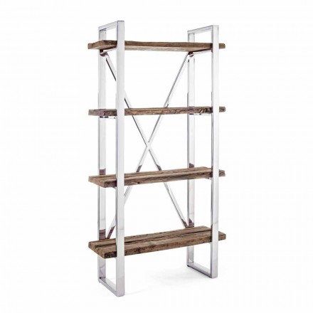 Homemotion moderne gulvreol i forkromet stål og træ - Lisotta