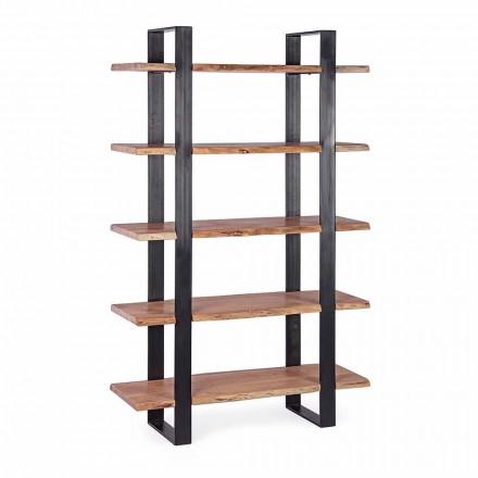Homemotion Moderne stålgulvreol med træhylder - Lanza
