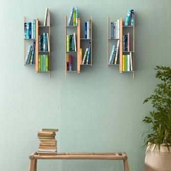 Zia Veronica vægmonteret design bogreol, massivt træ håndlavet