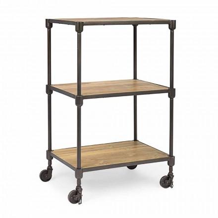 Reol i malet stål med hjul og hylder i Teak Homemotion - Fulvia