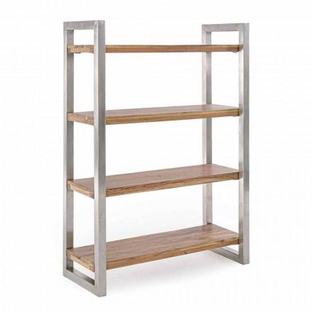 Moderne bogreol med struktur i forkromet stål og hjemmebevægelse i træ - Lisotta