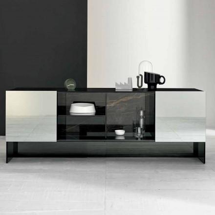Indgangs design skænk med 2 døre i Smokey-glas fremstillet i Italien - Scocca