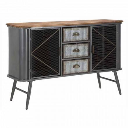 Vintage Industrial Iron and Wood Design Living Room Skænk - Akimi