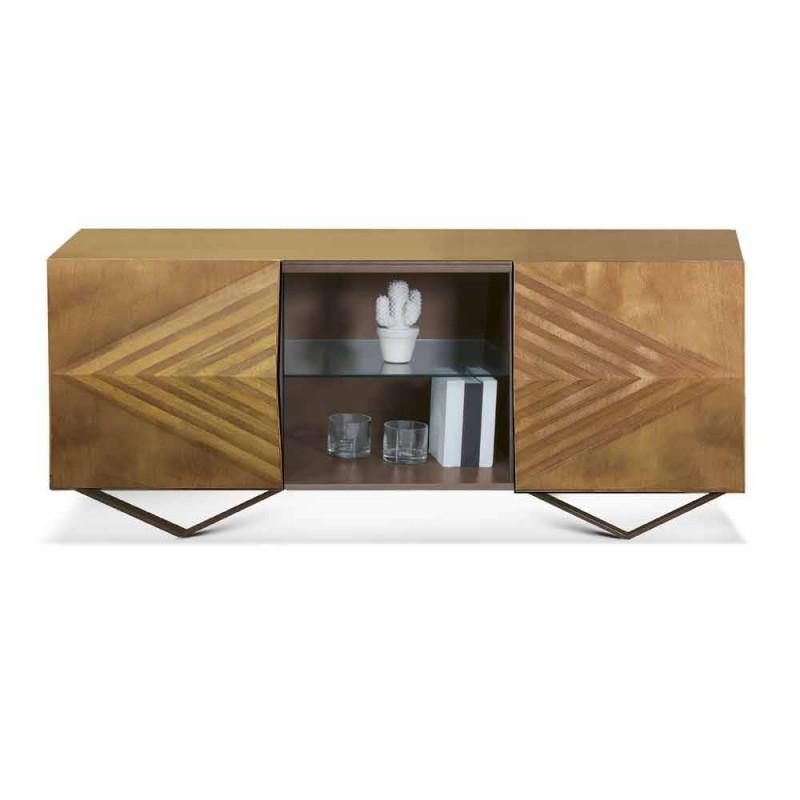 2 eller 4 døre skænk af træ med krystalhylder fremstillet i Italien - Gardena
