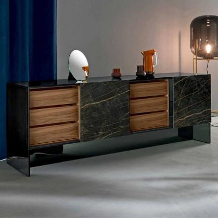 Stue Skænk med 2 døre i keramisk struktur og Smokey glasstruktur fremstillet i Italien - Scocca
