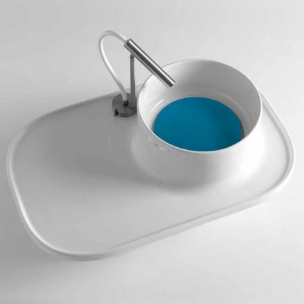 Hylde med integreret håndvask i blank hvid keramik fremstillet i Italien - Uber