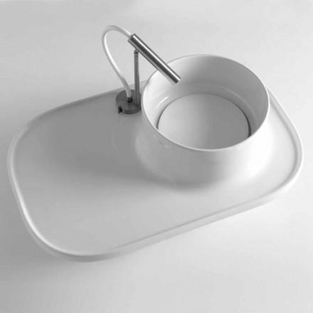 Hylde med integreret håndvask i farvet keramik fremstillet i Italien - Uber