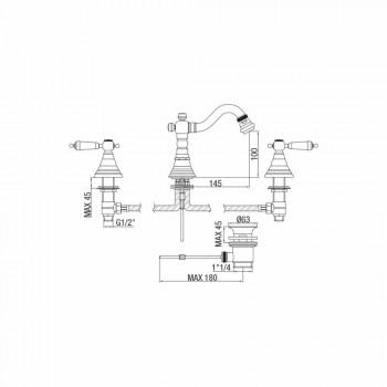 3-huls mixer til bidet i messing Classic Design fremstillet i Italien - Shelly