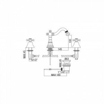 3-huls bidemixer i messing klassisk design fremstillet i Italien - Lisca