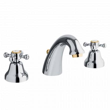 Klassisk design 3-huls håndvaskarmatur i messing fremstillet i Italien - Lisca