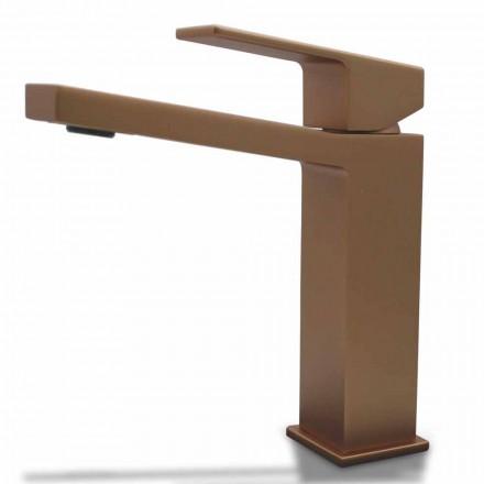 Moderne håndvaskarmatur i krom eller farvet messing firkantet design - Zago