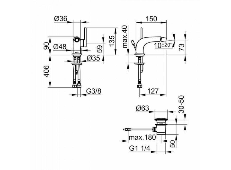 Moderne 1-grebs mixer med metal bidetafløb - Pinto