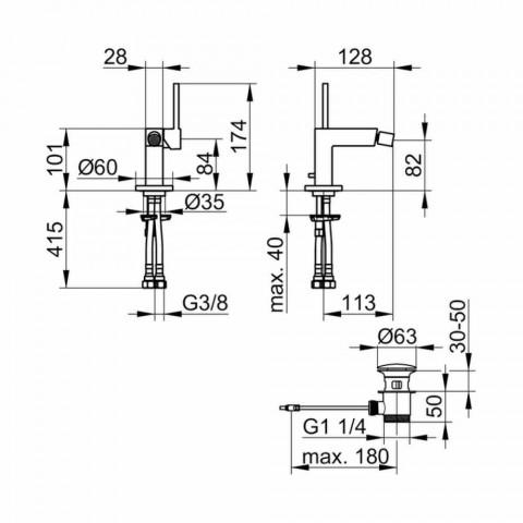 Moderne design 1-grebs bidemixer i forkromet metal - Girino