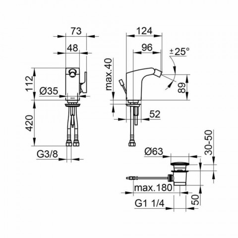 Moderne 1-grebs bidemixer i kromfinish metal - Gonzo