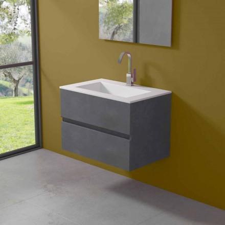 Hængeskab til badeværelse med integreret håndvask i 3 dimensioner - Marione