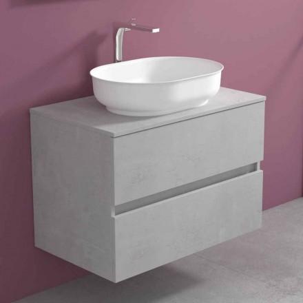 Hængende badeværelsesmøbler med ovalt håndvask, moderne design - Cesiro