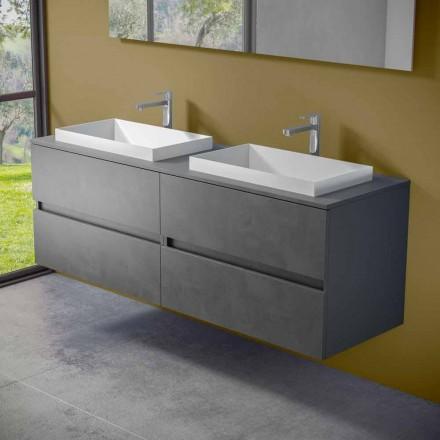 Hængende badeværelsesmøbler med dobbelt indbygget håndvask, moderne design - Dumbo