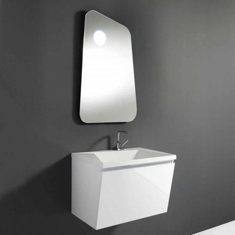 Badeværelse med vask og spejl, moderne design i hvidt træ og harpiks - Fausta