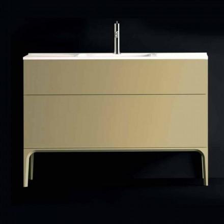 Badeværelsesskab med håndvask i lakeret træ 120x85x46cm Amber, lavet i Italien