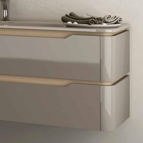 Badeværelseskab med integreret design trævask Arya, lavet i Italien