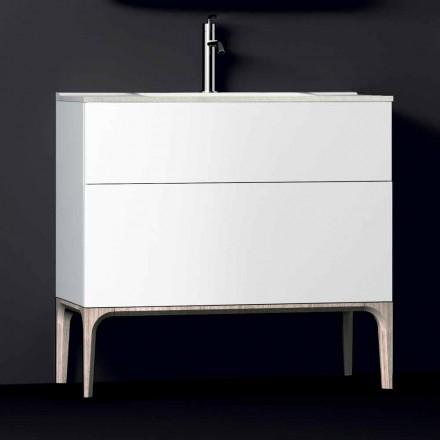 Badeværelseskab med integreret moderne vask Amber, harpiks og lakeret træ