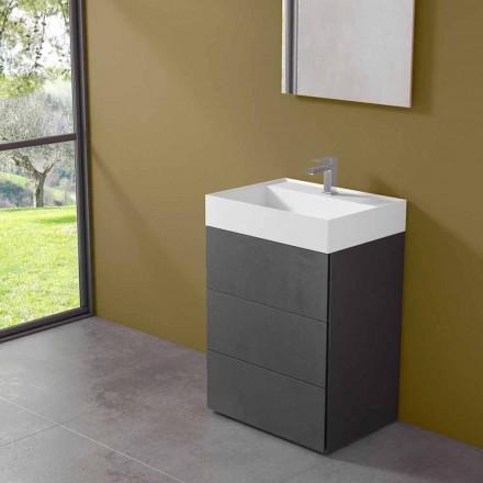 Moderne badeværelseskab i gulv i laminat med harpiksvask - Pompei