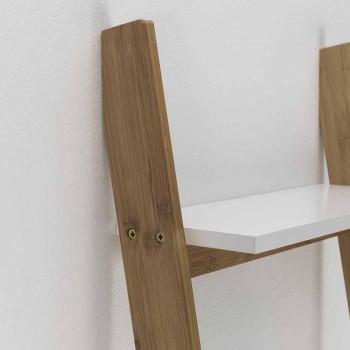 Gulvet skråt badeværelseskab med 5 hylder i bambus og Mdf - Gianmarco