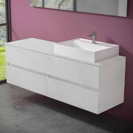 Hængende badeværelsesskab med designharpiks bordvask - Alchimeo