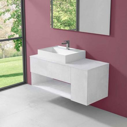 Hængende design badeværelsesskab med moderne håndvask til bordplade - Pistillo
