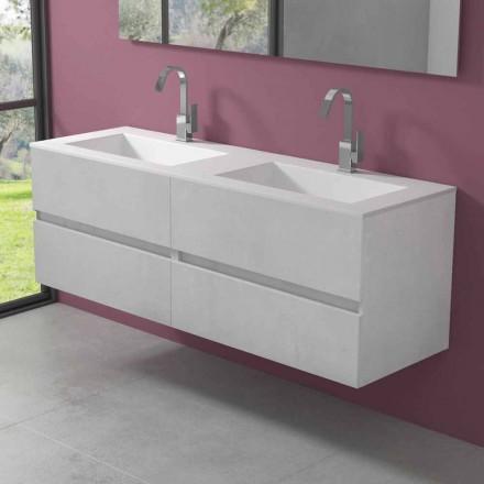 Hængende badeværelsesskab med dobbelt håndvask, moderne design i 4 finish - Doublet
