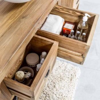 Badeværelsesskab i naturligt teaktræ med 2 skuffer - Faetano