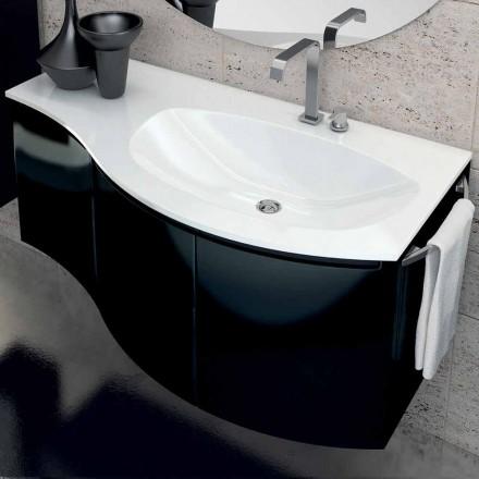 Moderne badeværelse skab med 3 dørs håndvask i Gioia sortlakeret træ