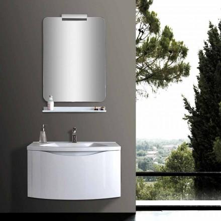 Hvidt moderne ophængt badeværelseskab med håndvask, hylde, LED-spejl - Michele