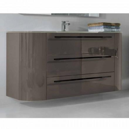 Ophængt badeværelse skab 3 skuffer + 2 trædøre Godt integreret vask