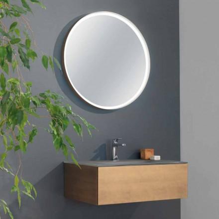 Hængende badeværelsesskab med skuffe og integreret håndvask og rund spejl - Renga