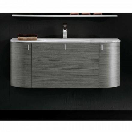 Ophængt badeværelse skab med 1cestone + 2ante håndvask i Happy Oak