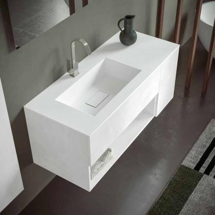 Hængende badeværelsesskab med integreret håndvask, moderne design, 4 finish - Pistillo