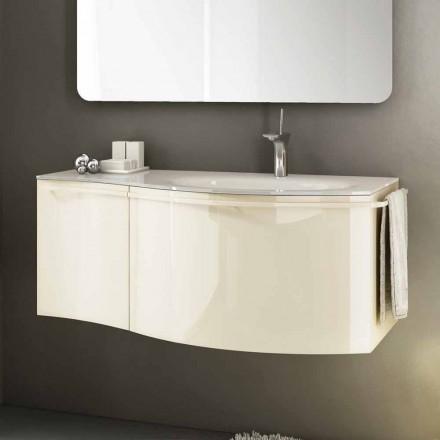 Moderne ophængt badeværelse skab med håndvask i beige lakeret træ Gioia 1