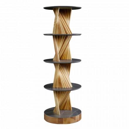 Luksus træskab med runde hylder i stentøj Lavet i Italien - Aspide