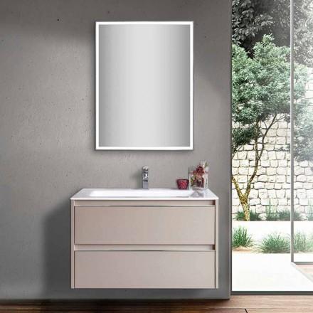 Dove Grey Badeværelsesvask i træ og mineraler med LED spejl - Alfonso