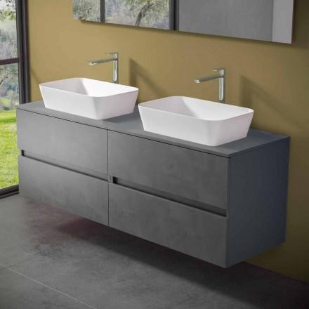 Hængende badeværelsesskab med dobbelt håndvask til bordplade - Mandrillo