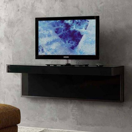 Væg-tv-skab i sort krystal og metal fremstillet i Italien - Americio
