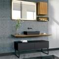 Badeværelsesmøbelsammensætning 150 cm i luksuriøst naturtræ - Alide