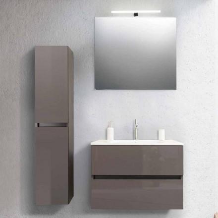 Badeværelse Skab 80 cm, håndvask, Mirron og Ecru søjle - Becky
