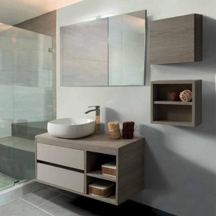 Badeværelseskab 100 cm, spejl, håndvask og hylde - Becky