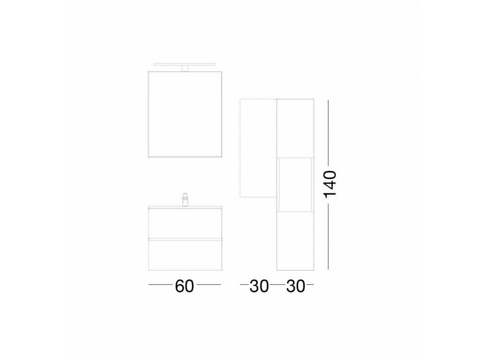 Suspenderet design badeværelsesmøbler i Melamine Walnut - Becky