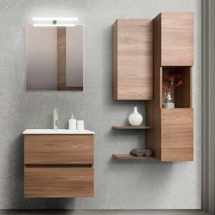 Badeværelseskab 60 cm, spejl, håndvask og søjle - Becky